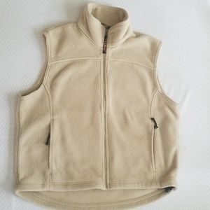 LL Bean Mens Tan Khaki Full Zip Fleecr Vest